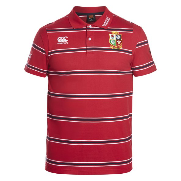 Canterbury Lions 2017 Cotton Stripe Polo, Red