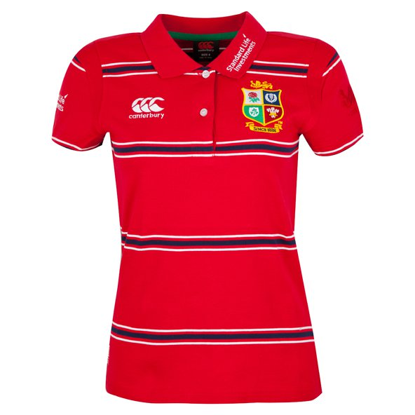 Canterbury Lions 2017 Women's Cotton Stripe Polo, Red