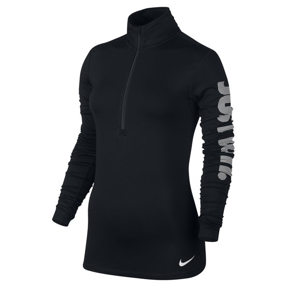 Nike Womens HZ LS Top Logo Black/White