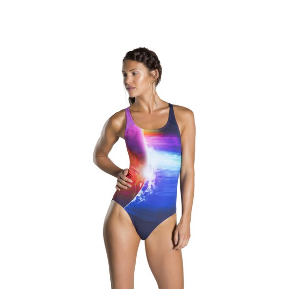 Speedo Solarvision Placement Powerback Swimsuit, Navy
