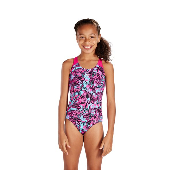 Speedo Astropop Splashback Girls' Swimsuit, Pink