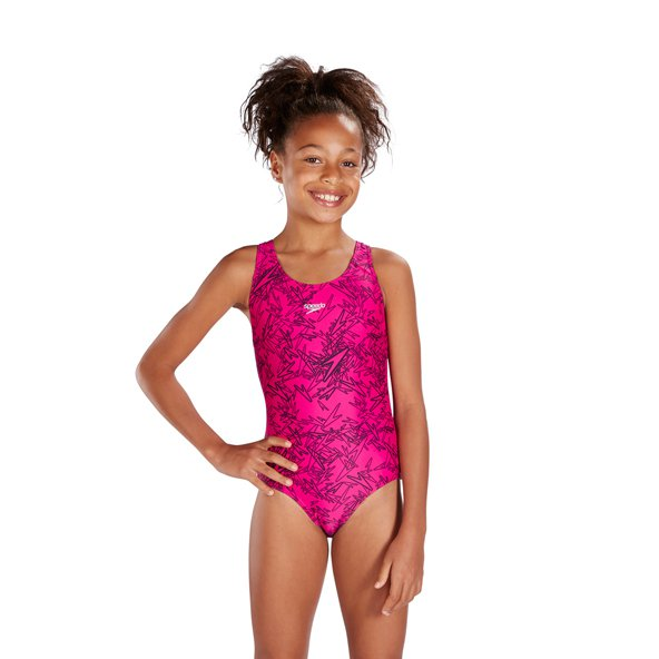 Speedo Boom Splashback Girls' Swimsuit, Pink