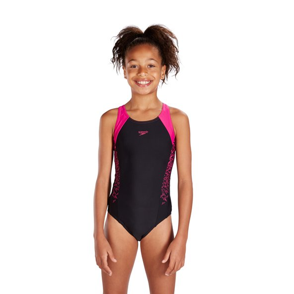 Speedo Boom Splice Muscleback Girls' Swimsuit, Black