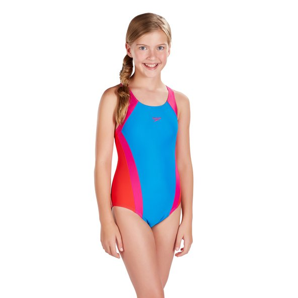 Speedo Contrast Panel Splashback Girls' Swimsuit, Blue