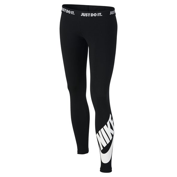 Nike Swoosh Leg-A-See Girls' Legging, Black