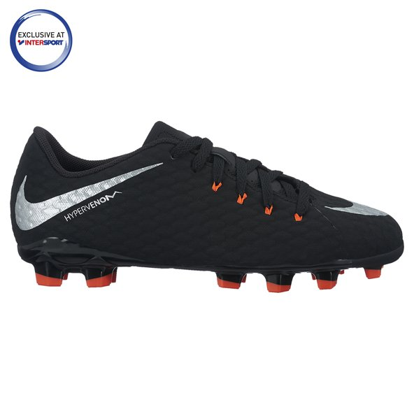 Nike Hypervenom Phelon III Kids' FG Football Boot, Black