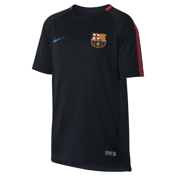 Nike FC Barcelona 2017 Kids' Squad T-Shirt, Black
