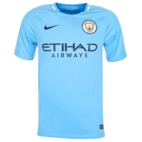 Nike Man City 2017/18 Kids' Home Jersey, Blue