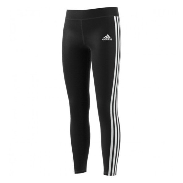 adidas Gear Up Girls' 3 Stripe Tight, Black