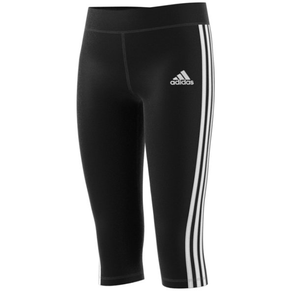adidas Gear Up Girls' 3 Stripe ¾ Length Tight, Black