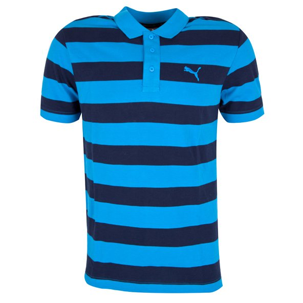 Puma Essential Striped Pique Men's Polo, Navy