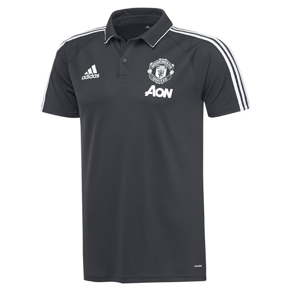 adidas Man United 2017/18 Polo Shirt, Grey