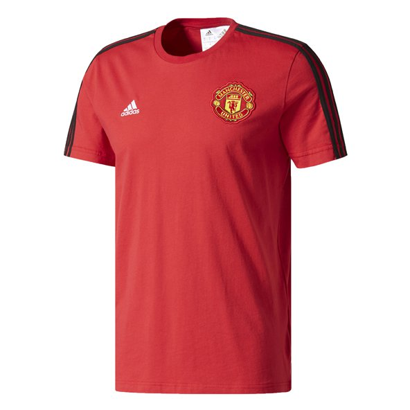 adidas Manchester United 2017/18 3 Stripe T-Shirt, Red