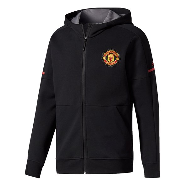 adidas Man United 2017/18 Kids' Home Anthem Jacket, Black