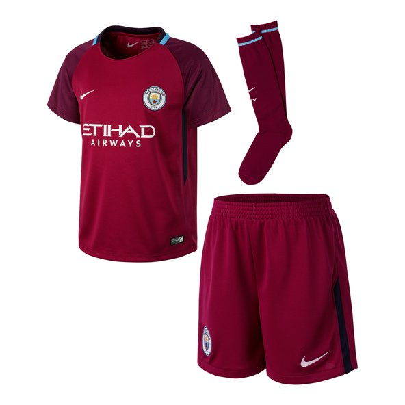 Nike Man City Away 17 Kids Kit Berry