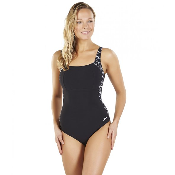 Speedo LunaLustre Printed 1 Piece Blk/Wh