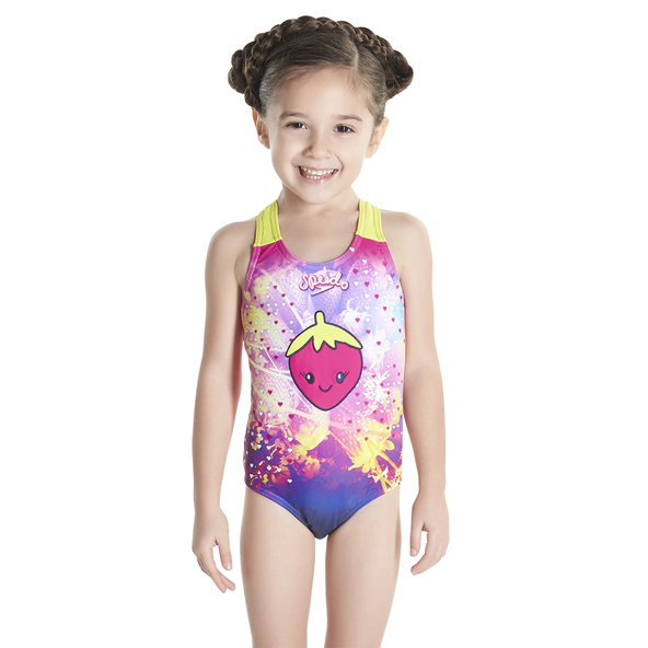 Speedo Ess Applique Girls 1Piece Pnk/Nvy