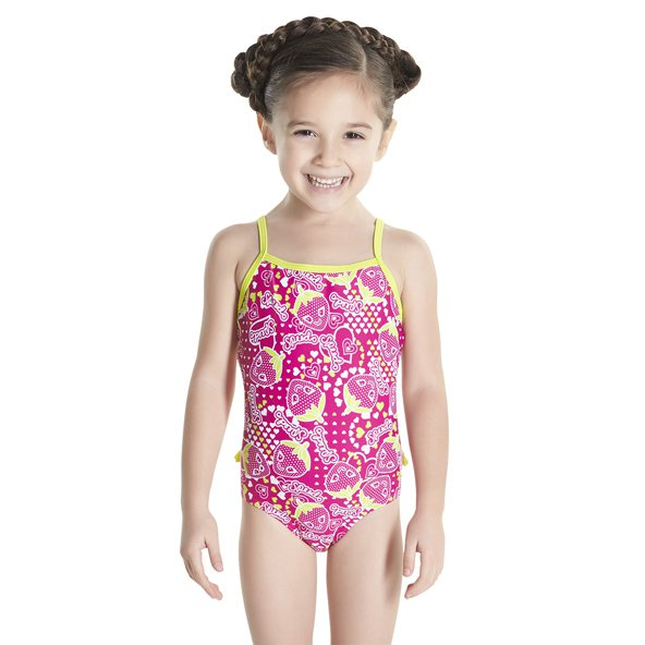 Speedo Ess Frill Girls 1Piece Pnk/Nvy