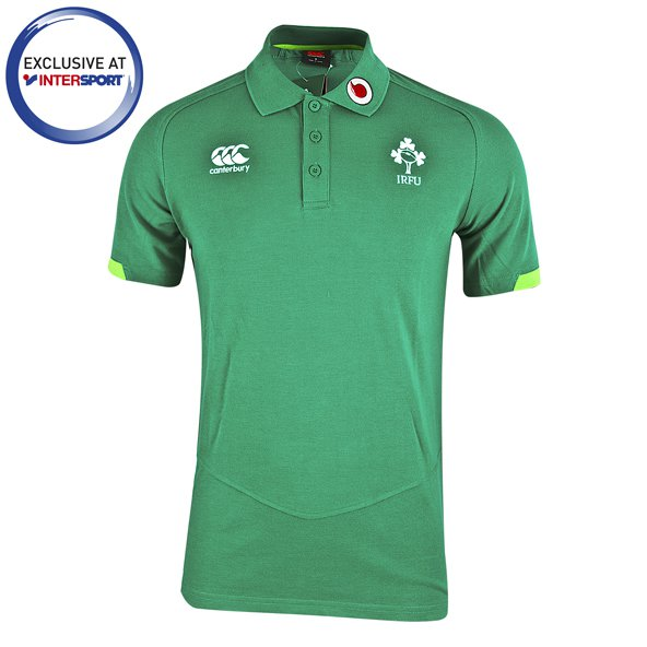Canterbury IRFU 17 Poly Pique Polo Green
