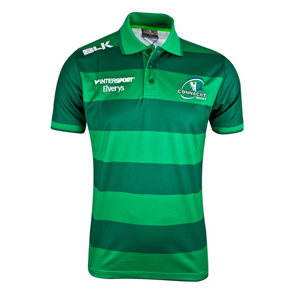 BLK Connacht 17 Media Stripe Polo Green