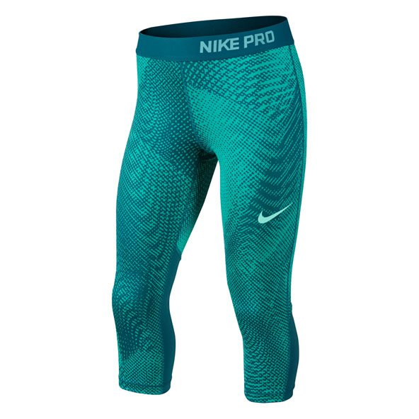 Nike Pro-Cool Aop3 Girls Capri Grn/Blue