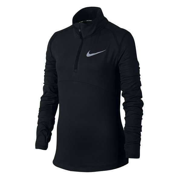 Nike Dry Element Long Sleeved Half Zip  Girls' Top Black