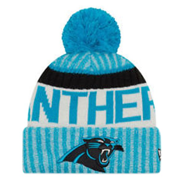 NewEra Panthers Sideline Bobble Beanie, Blue
