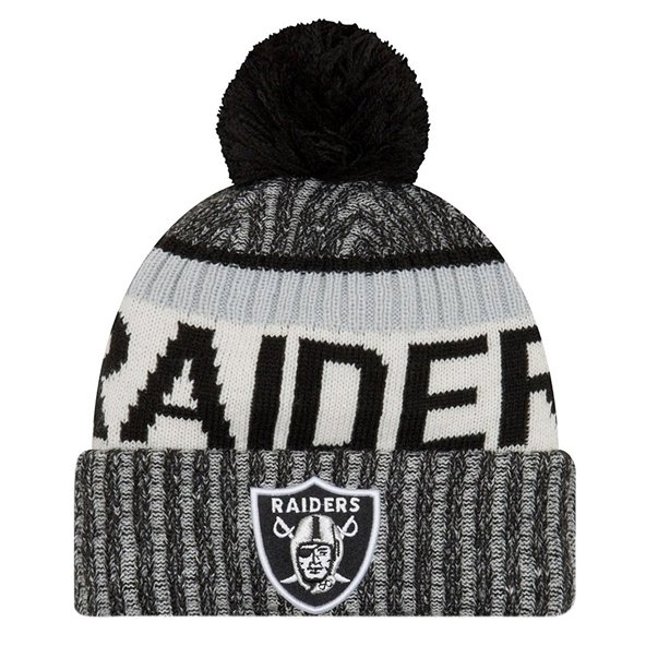 NewEra Raiders Sideline Bobble Beanie, Black