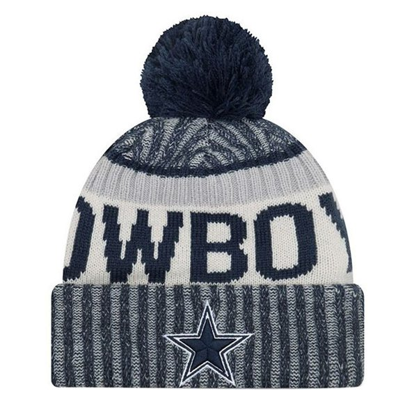 NewEra Cowboys Sideline Bobble Beanie, Blue