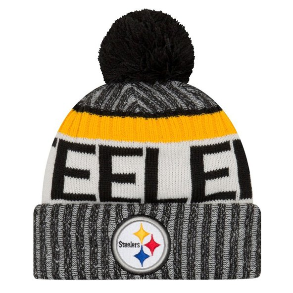 NewEra Steelers Sideline Bobble Beanie, Black