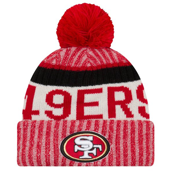 NewEra 49er Sideline Bobble Beanie, Red