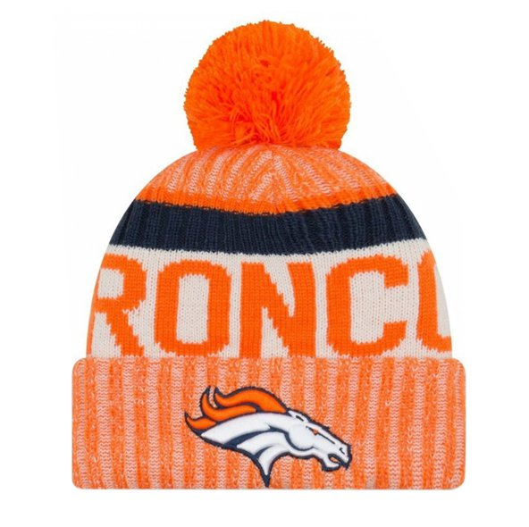 NewEra Broncos Sideline Bobble Beanie, Orange