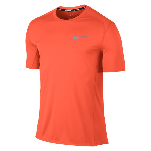 Nike Dry Miler Mens Short Sleeve Running Top Crimson