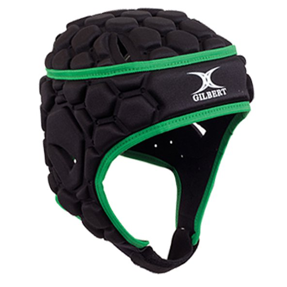 Gilbert Falcon 200 Kids' Rugby Headgear, Black/Green