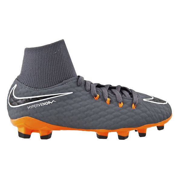 Nike Hypervenom Phantom 3 Academy DF FG Kids' Football Boot, Grey