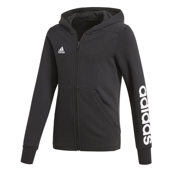adidas Linear Girls' Full Zip Hoody, Black