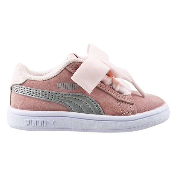 Puma Smash v2 Ribbon Junior Girls' Trainer, Pink