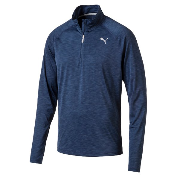 Puma Core-Run Long Sleeve Half Zip Mens Top Blue/Htr