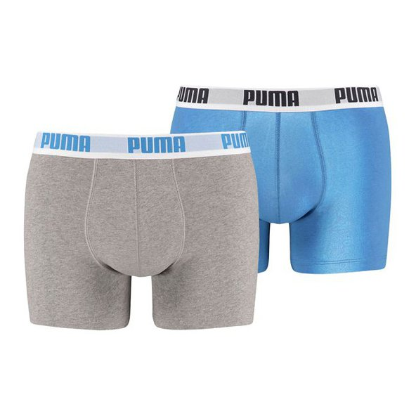 Puma Basic Boxer 2 Pack, Blue/Grey
