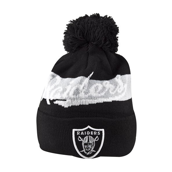 NewEra Raiders Bobble Beanie, Black
