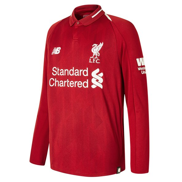 New Balance Liverpool 2018/19 Kids' LS Home Jersey, Red
