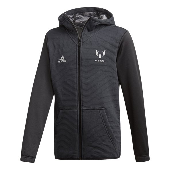 adidas Messi Boys' Full-Zip Hoody, Black