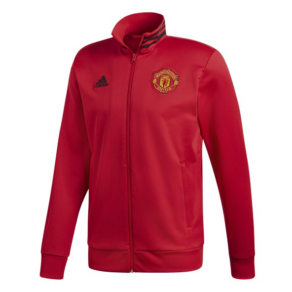 adidas Man United 2018/19 3 Stripe Track Top, Red