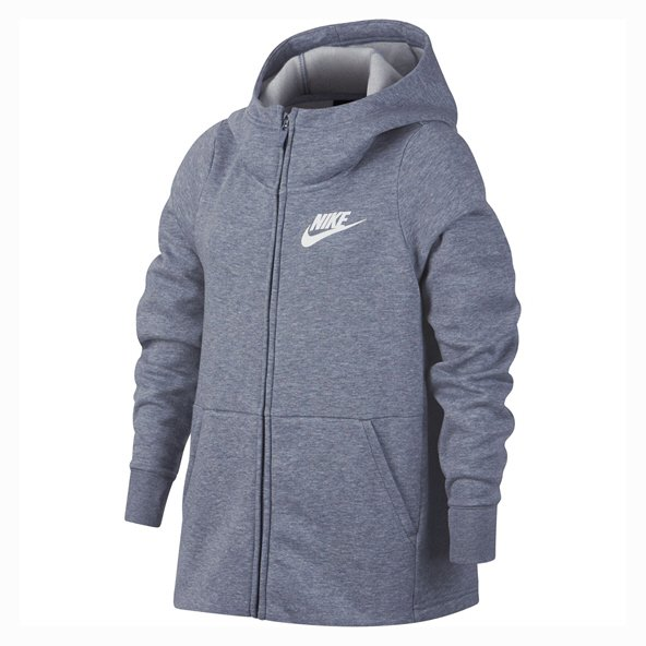 Nike Swoosh Girls' Full Zip Hoody, Grey