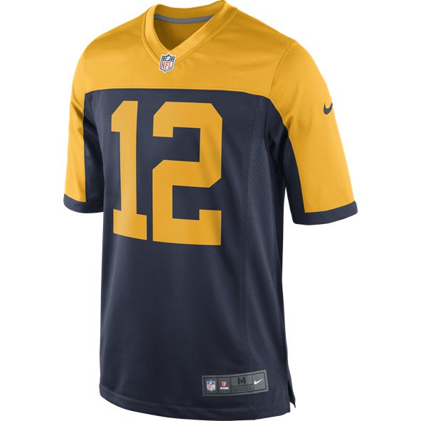 Nike Green Bay Packers Rodgers No.12 Throwback Jersey, Navy