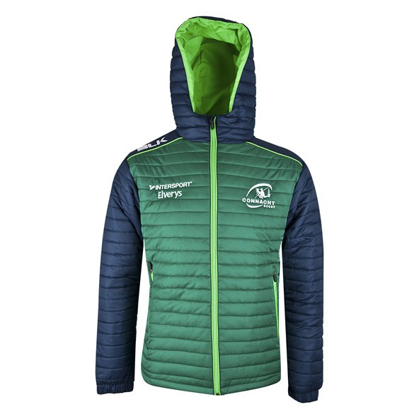BLK Connacht 18 Puffer Hooded Jacket Green/Navy
