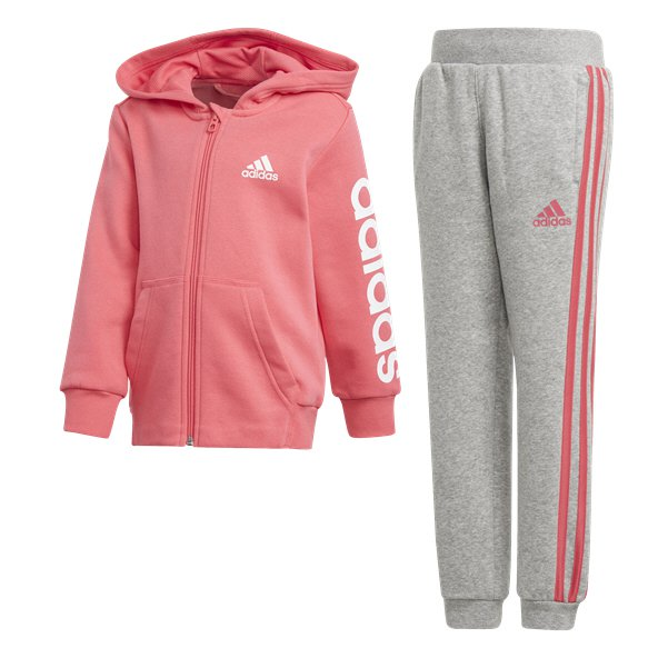 adidas Linear Junior Girls Tracksuit Haze Coral
