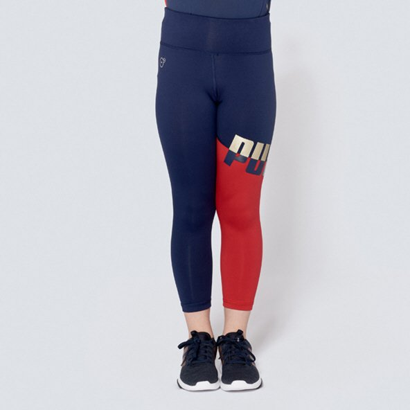 Puma ACE Girls' Legging, Navy/Red