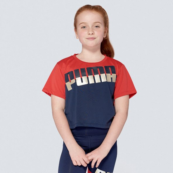Puma ACE Girls' T-Shirt, Navy/Red
