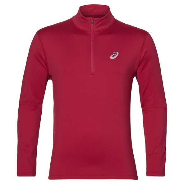 Asics Silver Men's ½ Zip Long Sleeve Running Top, Red